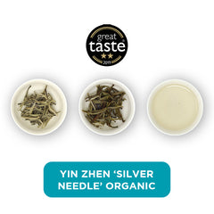 Yin Zhen Organic loose leaf tea – three cups showing the plain leaf, the unfurled leaf with the water added and then the final brew of tea.