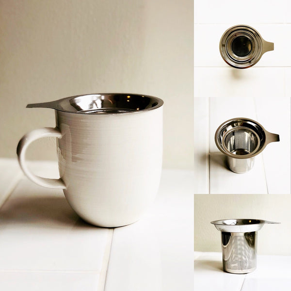 A plain white mug with an in-cup loose leaf strainer are sat on some white tiles. The right-side of the image is three smaller images, showing different angles of the strainer.
