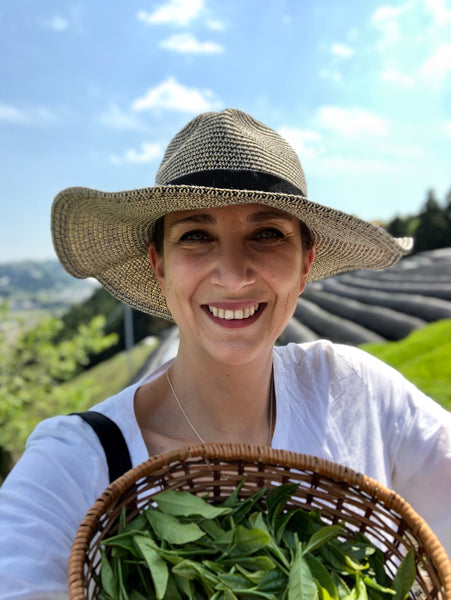 A photo of our founder, Valerie, picking tea leaves in Japan. Valerie is wearing a hat, with beautiful blue sky overhead and a basket of tea leaves in hand.