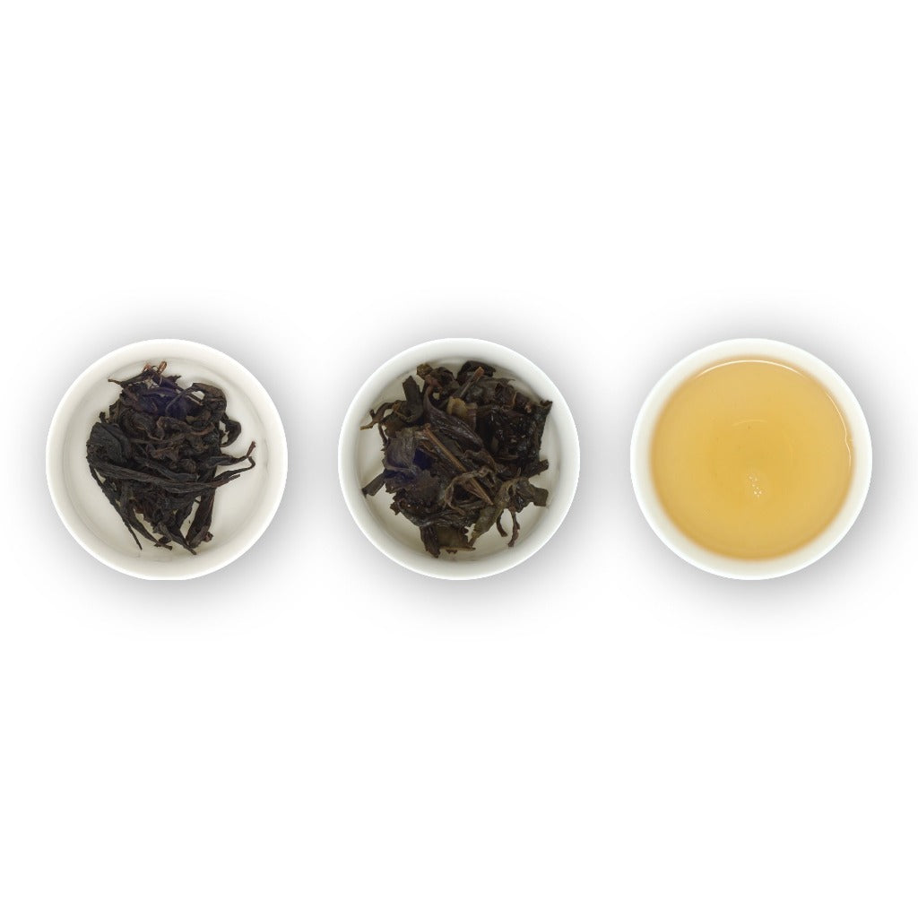 Loose leaf tea, Da Hong Pao dry leaves, wet leaves and liquor