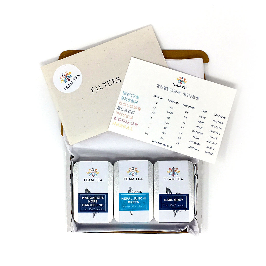 Sample Box with slide tins, brewing guide and T-Filters