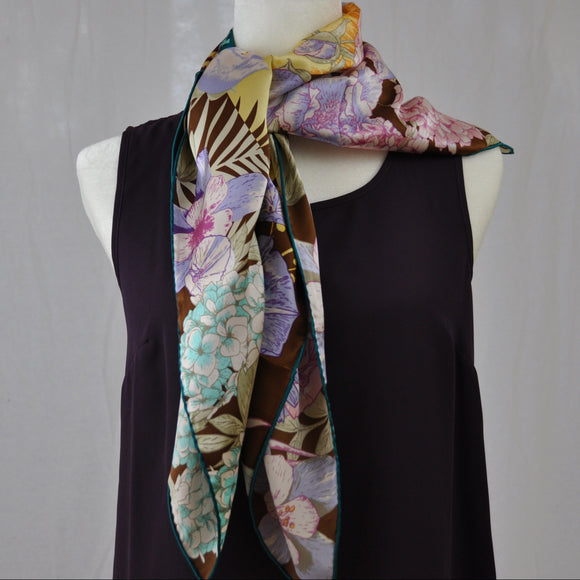 Petit Oiseau Silk Scarf Rose and Light Teal