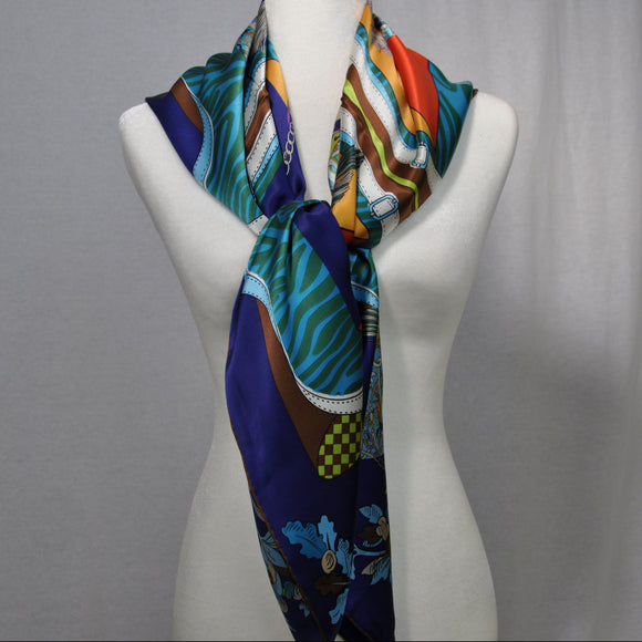 Entourage Silk Scarf Royal Blue