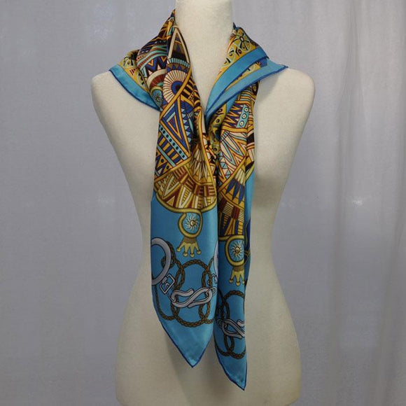 Equestre Silk Scarf Blue Mix