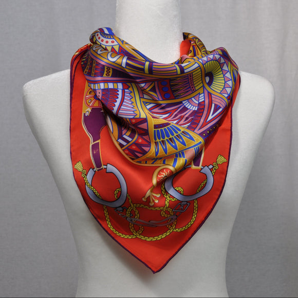 Equestre Silk Scarf Red Mix