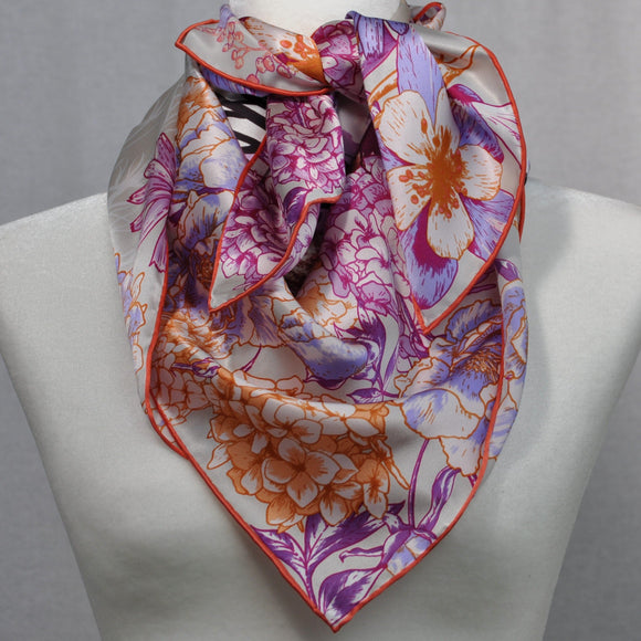 Petit Oiseau Silk Scarf Lavender and Orange
