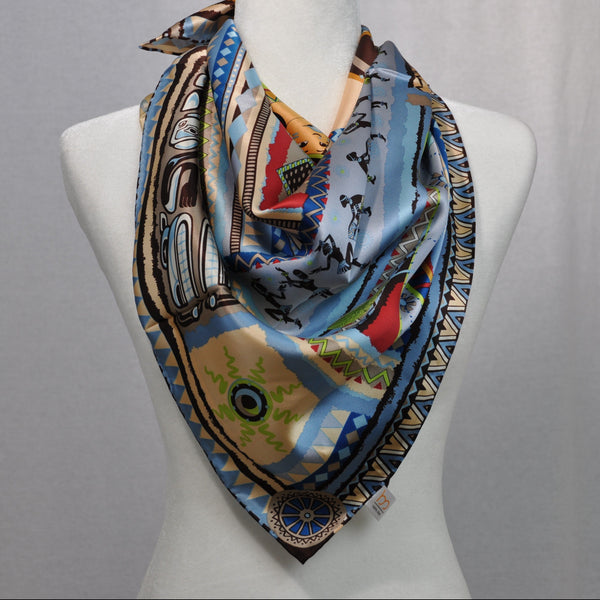Culture Ancienne Silk Scarf Blue Mix