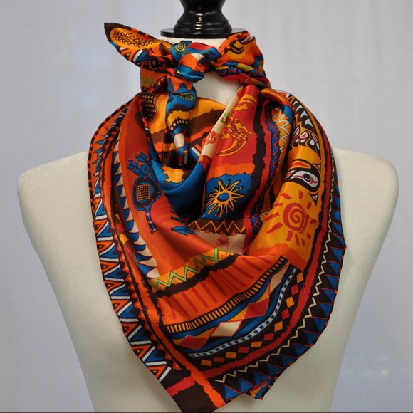 Culture Ancienne Silk Scarf Orange Mix