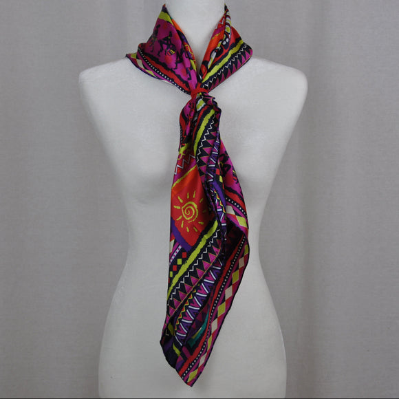 Culture Ancienne Silk Scarf Fuchsia Mix