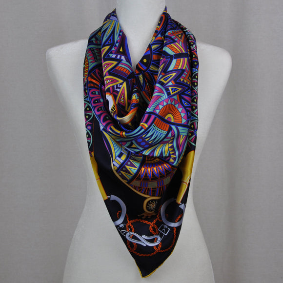 Equestre Silk Scarf Navy Mix