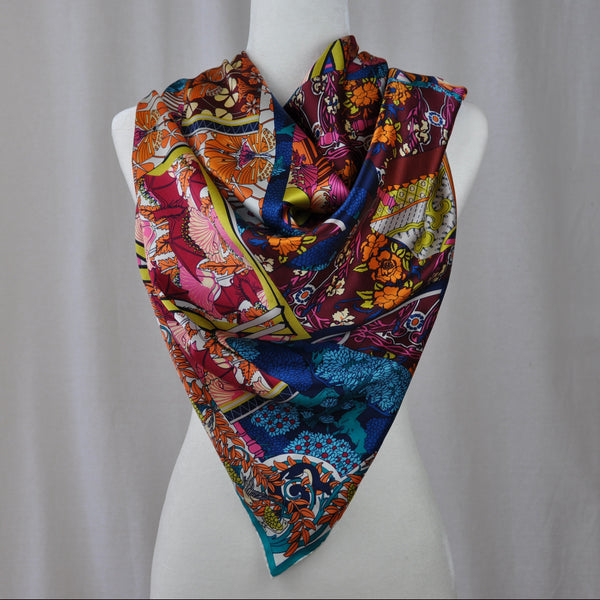 Mode Mosaïque Silk Scarf Teal Mix