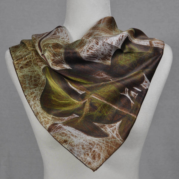 Olive green and brown silk scarf.