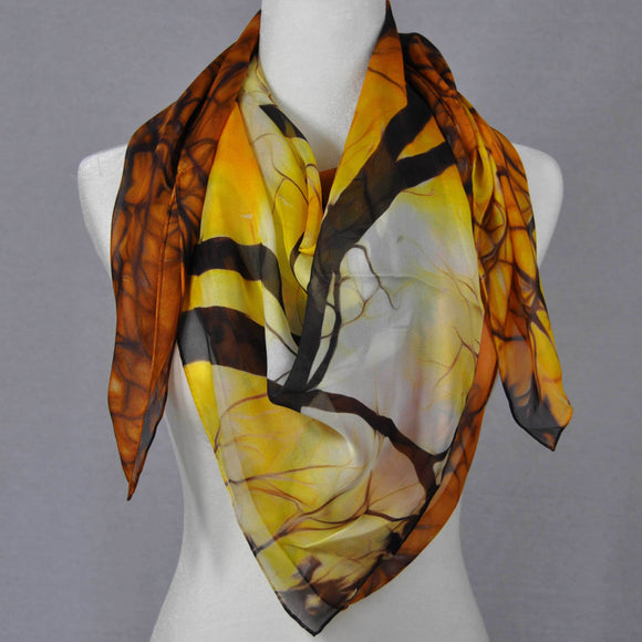 Warm orange and yellow silk scarf.