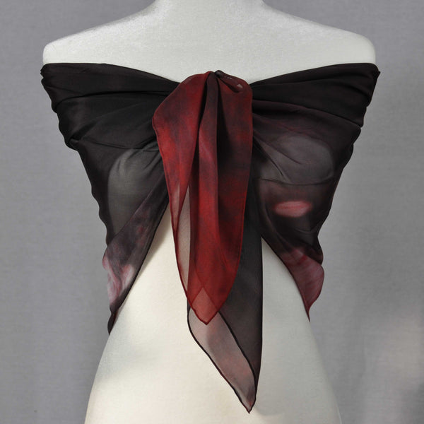 A sexy sheer red and black chiffon silk scarf to complete a day or evening look.
