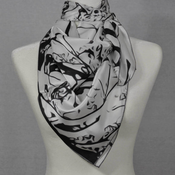 Black and white silk scarf - winter scene.