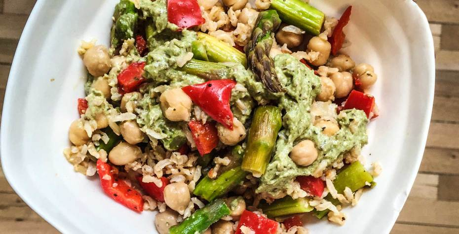 Warm Asparagus and Chickpeas with Avocado Mustard Dressing