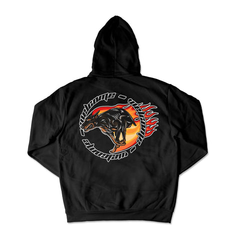 Welcome Flame Dog Hoodie / Black