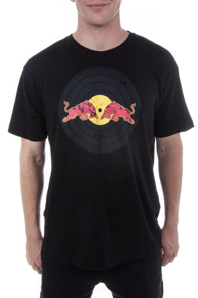Red Bull Records Distressed Traditional Logo T-Shirt Black