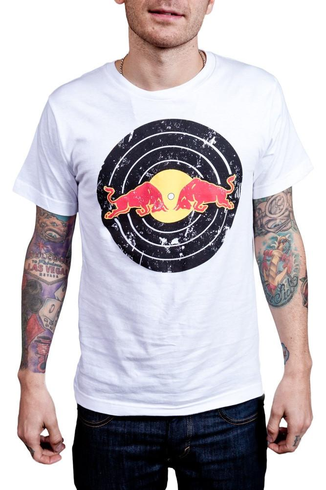 Red Bull Records Distressed Traditional Logo T-Shirt White
