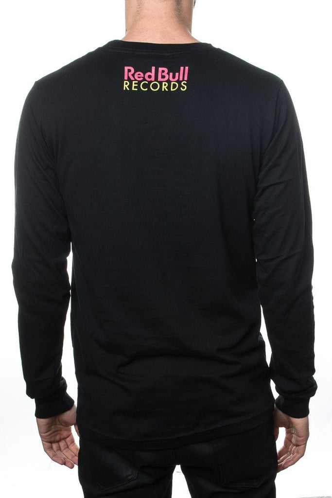 Red Bull Records Distressed Traditional Logo L/S  T-Shirt Black