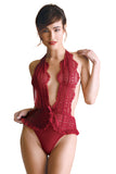 Emma Lace Halter Teddy Red  Fantasy Lingerie- Vixen Erotic Boutique