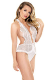Emma Lace Halter Teddy White  Fantasy Lingerie- Vixen Erotic Boutique