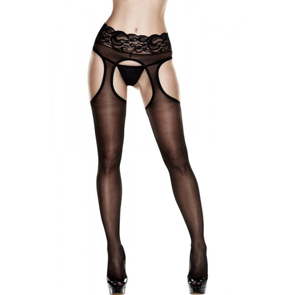 Lace Top Crotchless Suspender Hose  Baci- Vixen Erotic Boutique