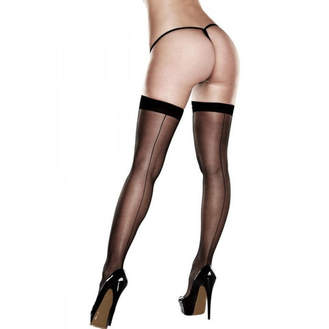 Silicone Stay-Up Black Sheer Thigh Highs  Baci- Vixen Erotic Boutique