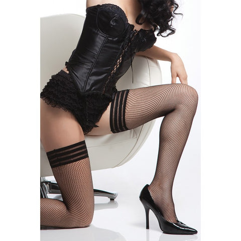 Triple Band Diamond Net Thigh High Stockings  Coquette- Vixen Erotic Boutique