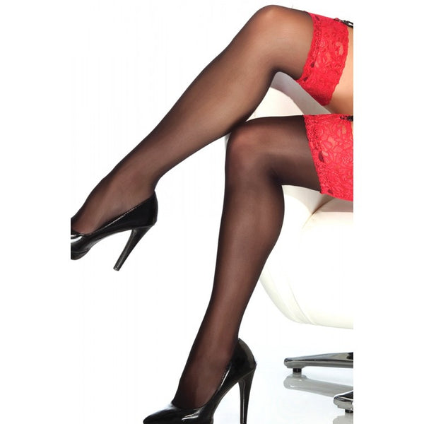 Sheer Lace-Topped Thigh Highs Black & Red  Coquette- Vixen Erotic Boutique