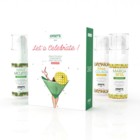 Let's Celebrate-Massage Oil Trio Set  Exsens- Vixen Erotic Boutique