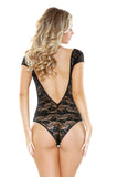 Stretch Floral Lace Romper with Tassel Ties and Snap Closure  Fantasy Lingerie- Vixen Erotic Boutique
