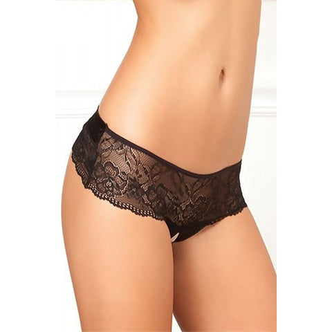 Crotchless Lace Bow-Back Panty  Rene Rofe- Vixen Erotic Boutique