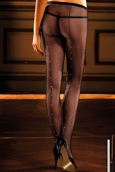Diamond Detailed Black Fishnet Pantyhose  Baci- Vixen Erotic Boutique