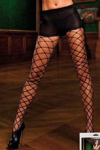 Black Control Top Diamond Net Pantyhose  Baci- Vixen Erotic Boutique