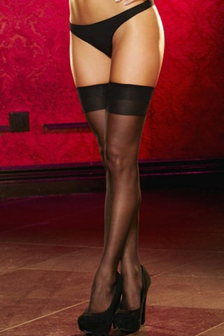 Sheer Black Thigh Highs  LACE- Vixen Erotic Boutique