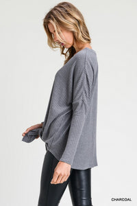 Charcoal Waffle Knit Button Top