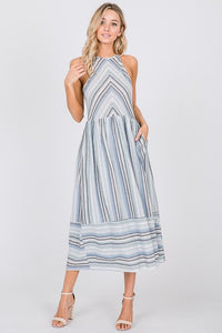 Blue Multi Stripe Halter Midi Dress