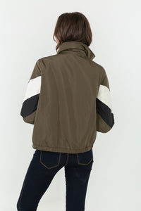 Olive Color-blocked Puffer Jacket