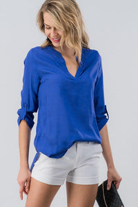 Royal Vneck Button Sleeve Blouse