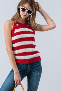 Red Striped Sweater Halter Tank