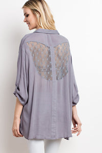 Opal Gray Button Down Laced Back Top