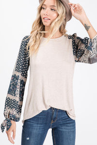 Oatmeal Bandana Print Sleeve Top