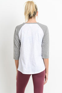 Grey Raglan Sleeve Baseball Tee