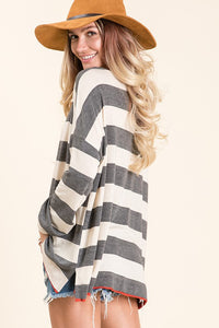 Charcoal Wide Striped Pullover
