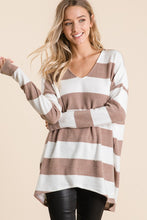 Taupe Wide Striped Vneck Tunic