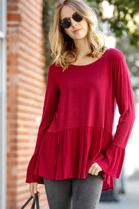 Burgundy Peplum Lace Up Tee