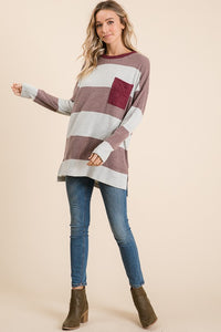 Wine Contrast Pocket Wide Striped Tee