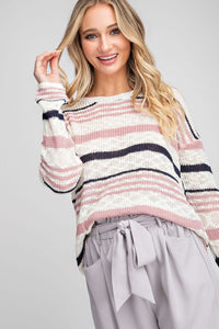 Ivory/Pink/Navy Striped Spring Sweater