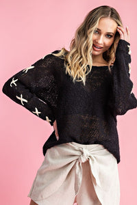 Black Cross Sleeve Sweater